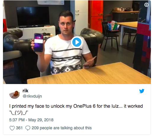 Face Unlock в OnePlus 6 обманули с помощью фотографии