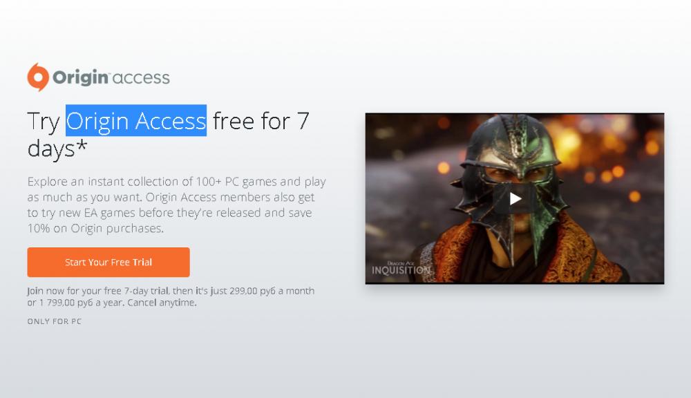 Более ста игр Origin Access доступны абсолютно бесплатно в течение недели