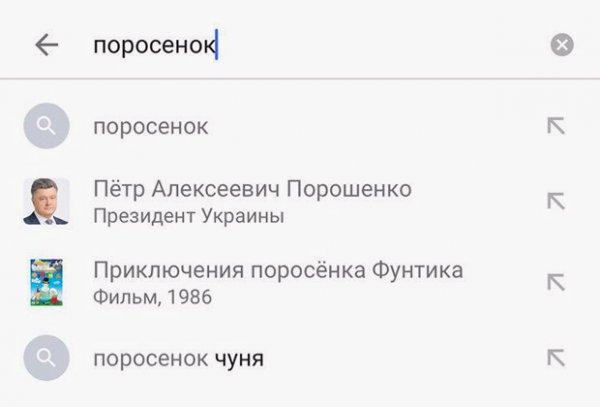 Биографию Порошенко при запросе «поросенок» предлагает Google