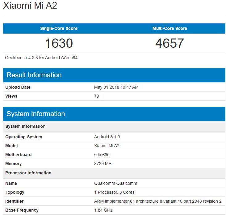 Xiaomi Mi A2 появился в Geekbench