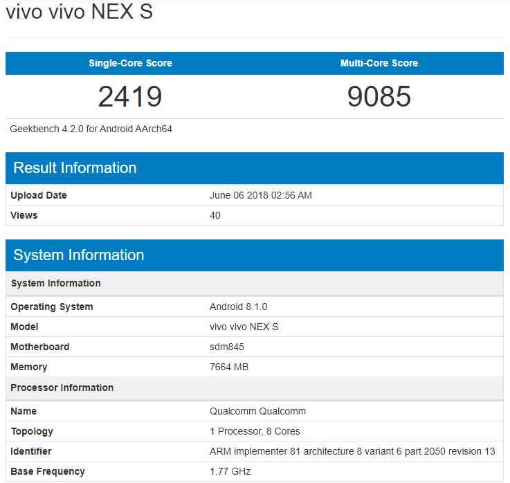 Vivo NEX был замечен в Geekbench