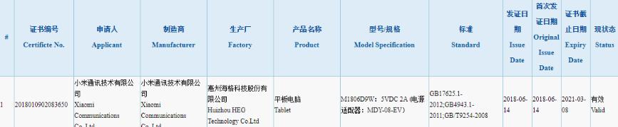 Xiaomi Mi Pad 4 прошел сертификацию и готовится к выходу