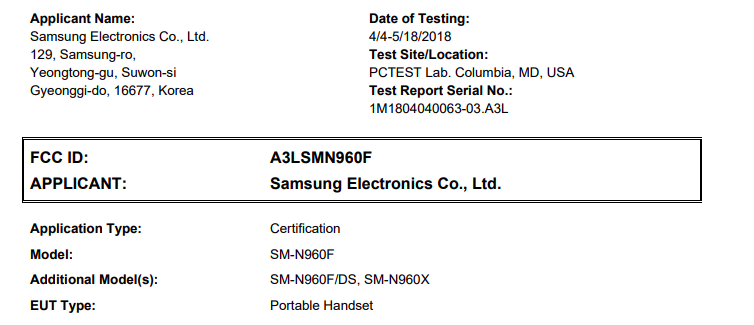 Samsung Galaxy Note 9 получил сертификат FCC