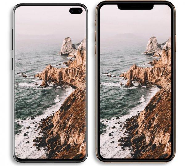 Дизайнер показал на рендере отличия Samsung Galaxy S10+ и iPhone XS Max