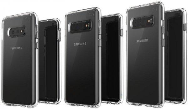 Три модели смартфона Samsung Galaxy S10 изобразили на одной картинке